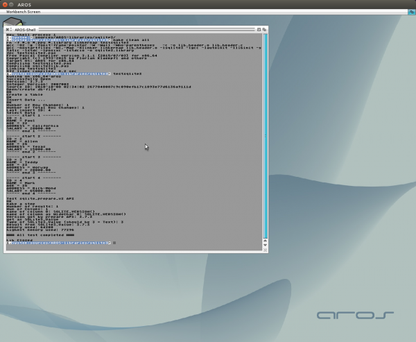 Freepascal SQLite3 on AROS64