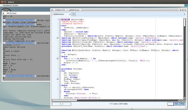 Freepascal program links to C Linklib