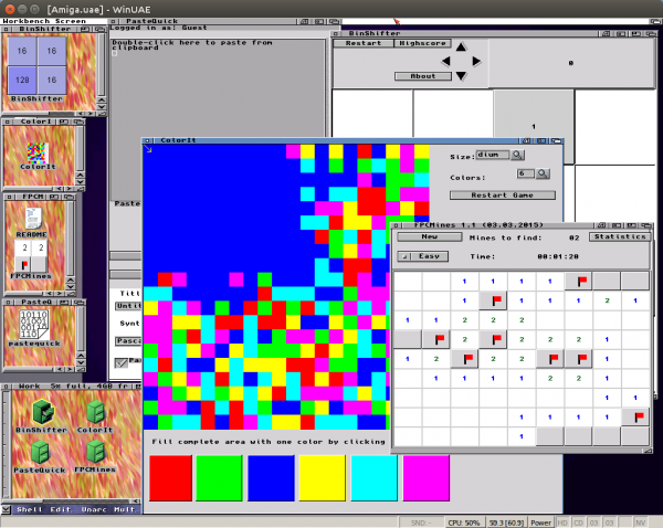 BinShifter, ColorIt, FPCMines and PasteQuick for Amiga