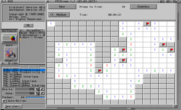 FPC Mines on a real Amiga with 64 color screen