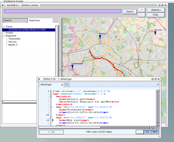 OpenStreetMap with Waypoints and Tracks