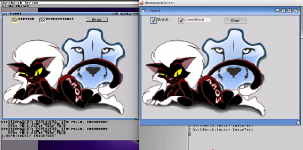 Amiga m68k with alpha channel drawing (left) and as comparison on AmigaOS4 (right)