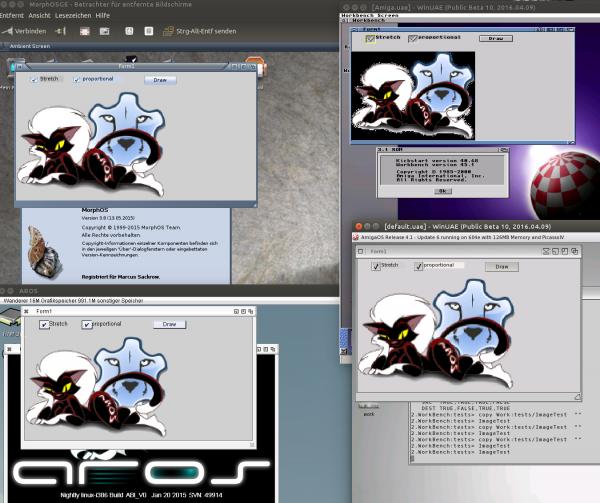 Image LCL drawing on MorphOS (upper left), AmigaOS3.9 (upper right), AROS (lower left), AmigaOS4 (lower right)