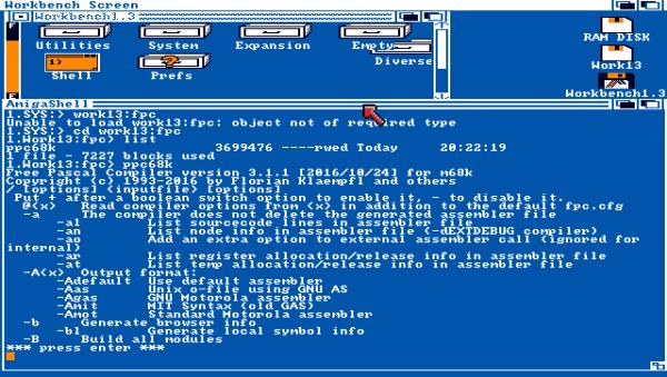FreePascal compiler on Workbench 1.3